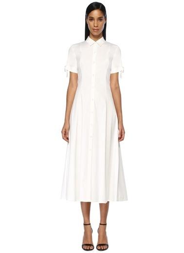 Theory Polo Yaka Kolları Bağlamalı Midi Elbise Beyaz
